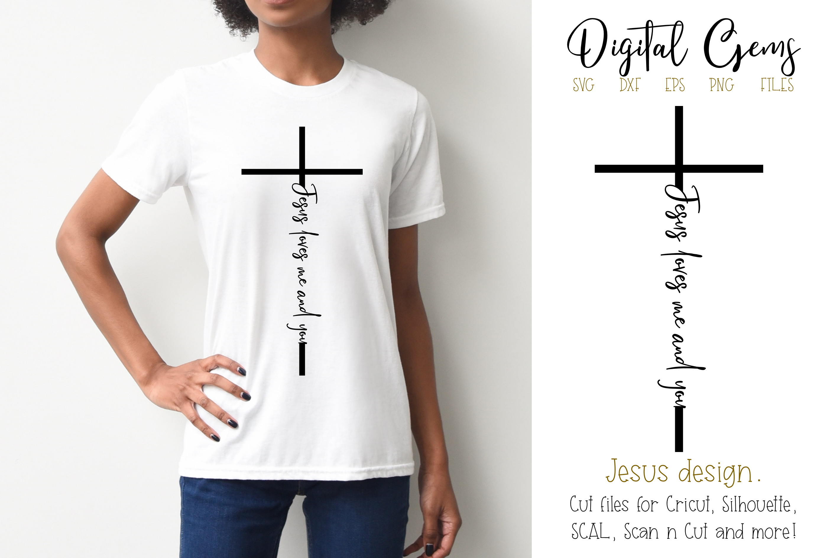 Jesus loves me and you SVG / PNG / EPS / DXF files example image 1