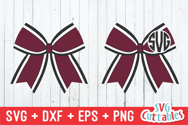Cheer Bow | Cheerleader Monogram Frame | SVG Cut File example image 1