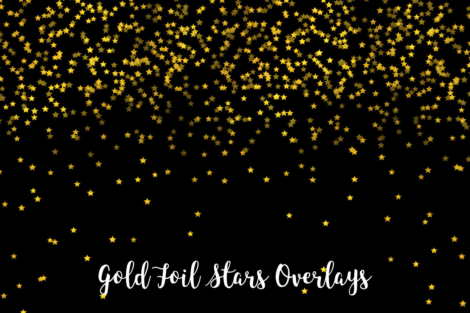 Gold Foil Stars Overlays, Gold Stars Confetti example image 4