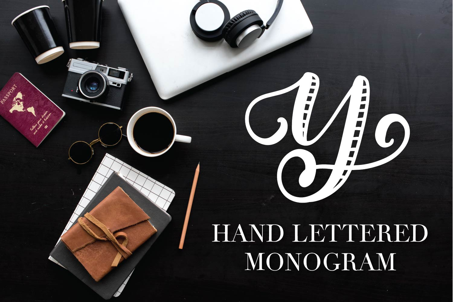 Hand Lettered Stripe Monogram Initials Font example image 7