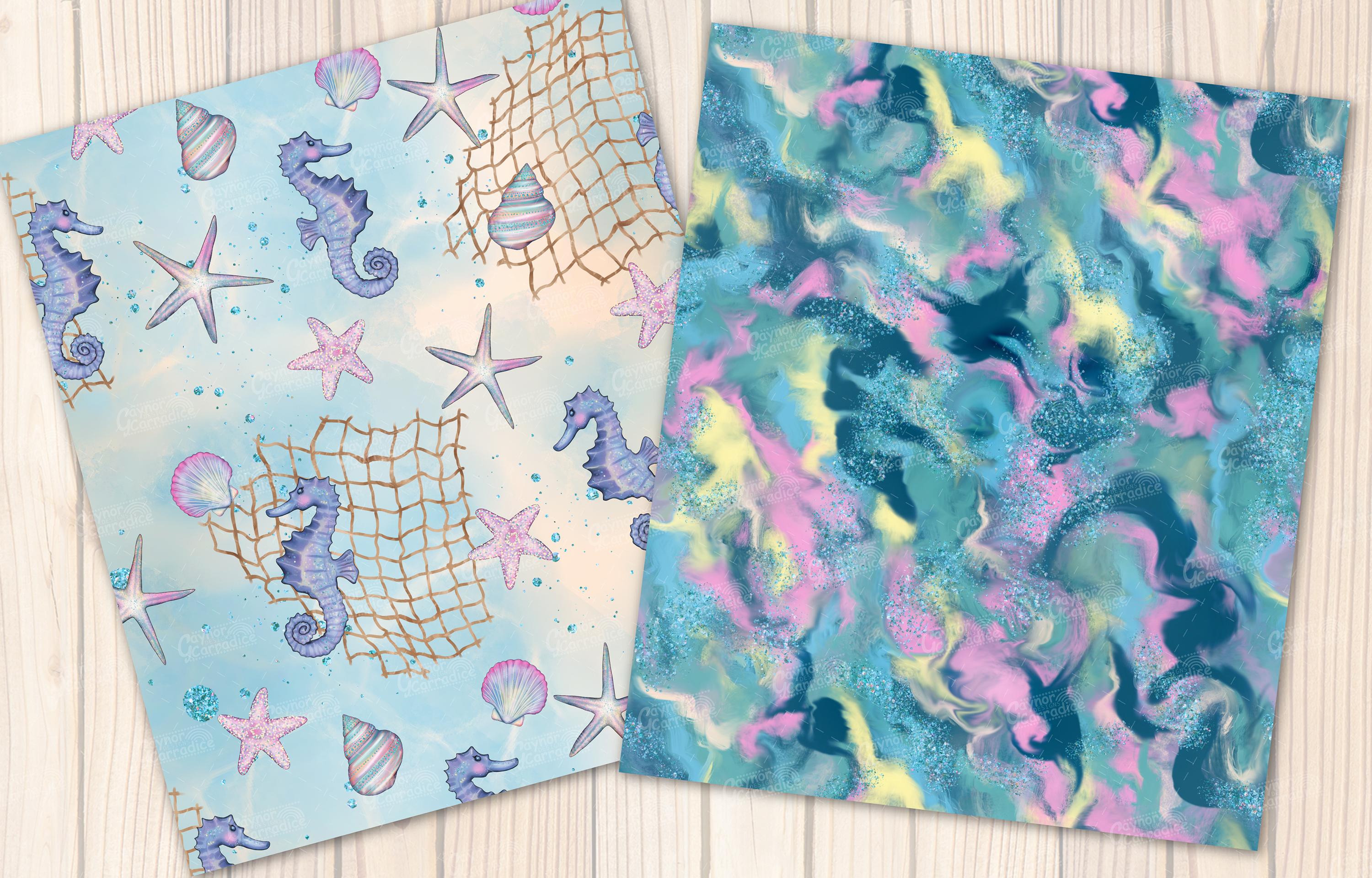 I washed up like this - Summer mermaid Seamless Patterns example image 3