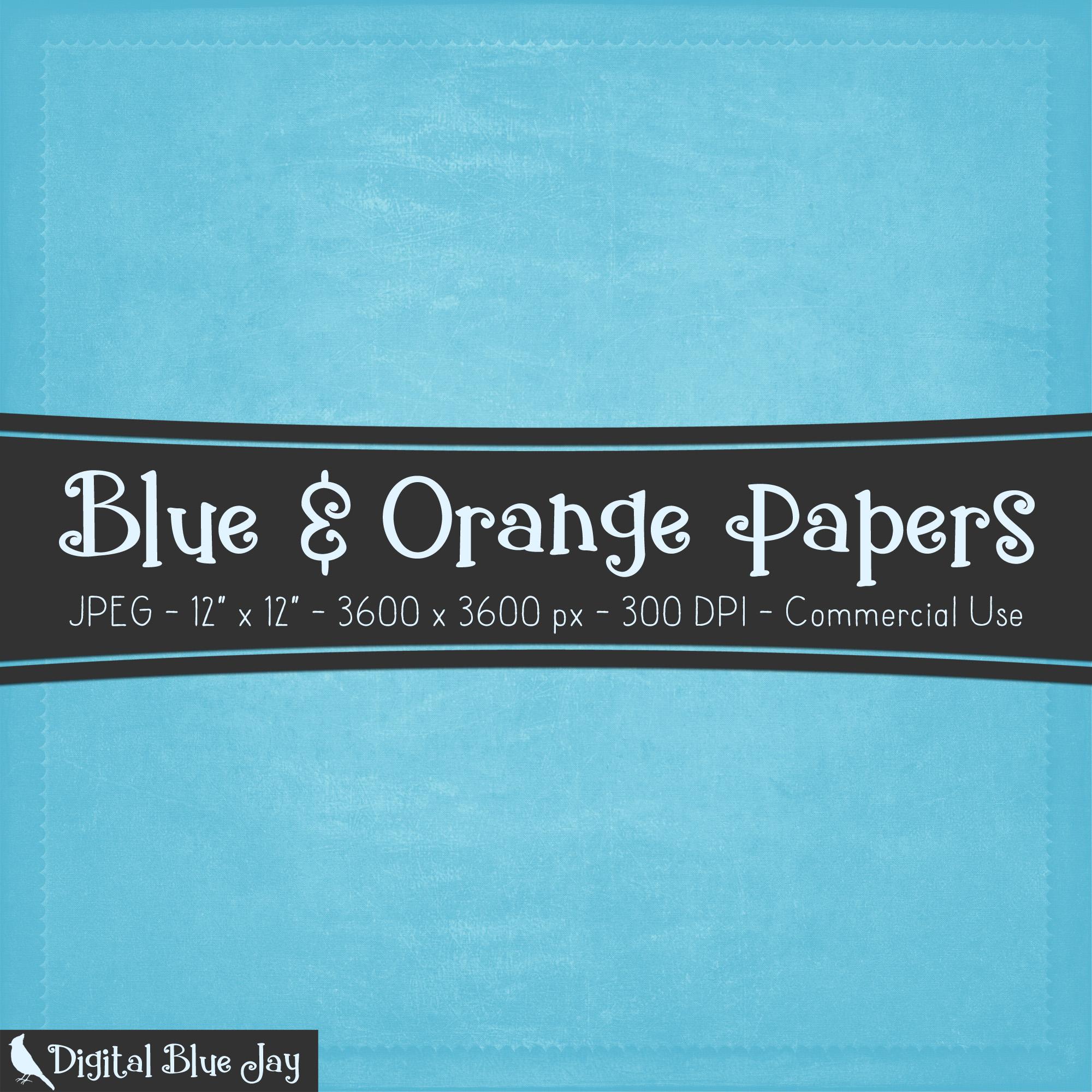 Digital Paper Textured Backgrounds - Blue & Orange example image 2