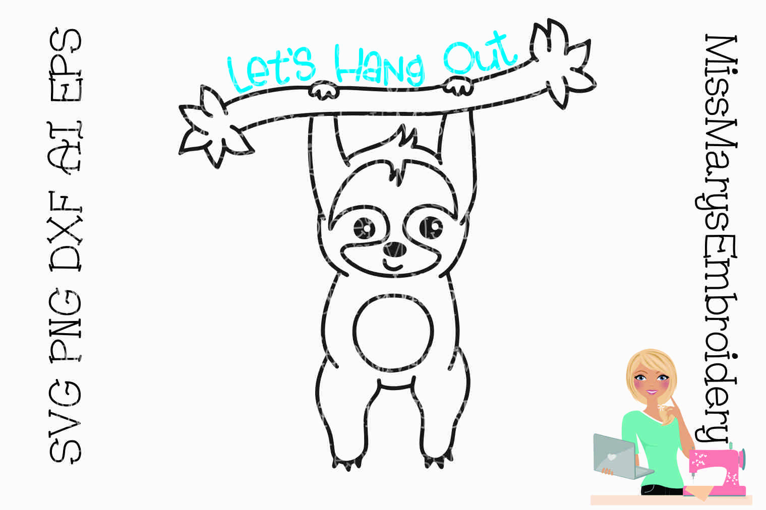 Let's Hang Out Sloth Outline SVG Cutting File PNG DXF AI EPS example image 1