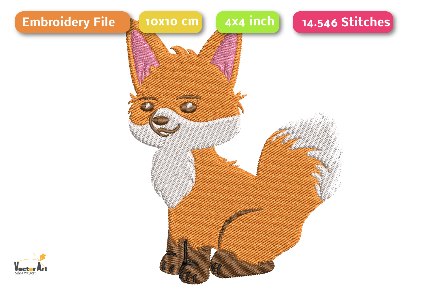 Fox - Embroidery File - 4x4 inch example image 2