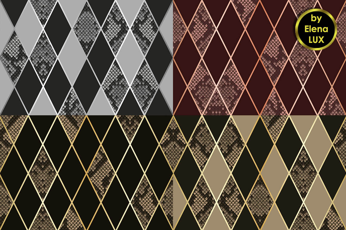 Snakeskin Seamless Patterns Set example image 2