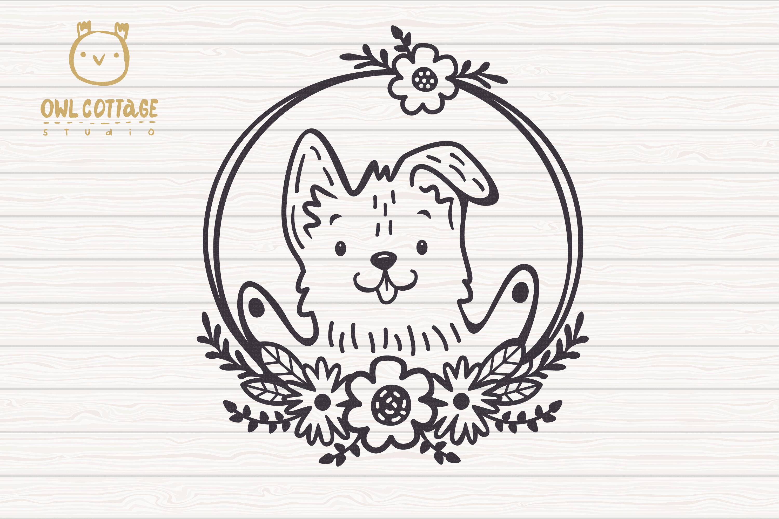Valentine Dog svg , Puppy with floral decor Svg, Valentine's example image 3