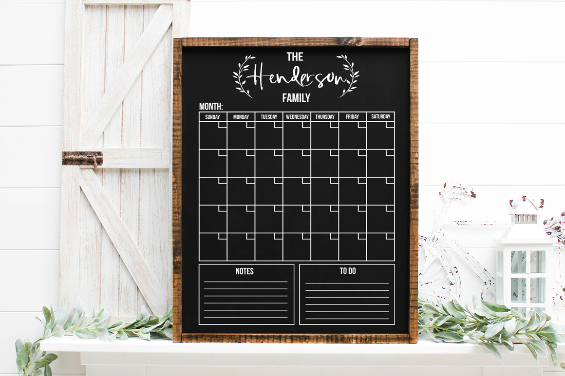 Customizable Family Monthly Calendar SVG example image 3