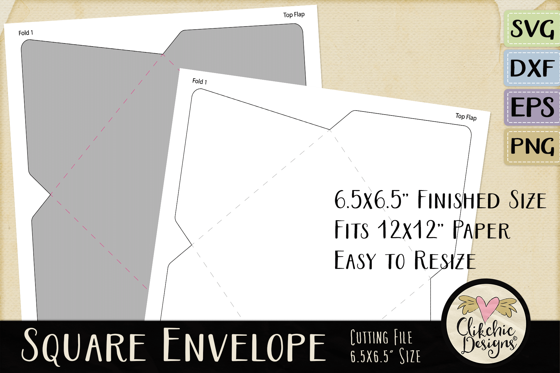 Square Envelope SVG - Square Envelope Cutting File Template example image 4