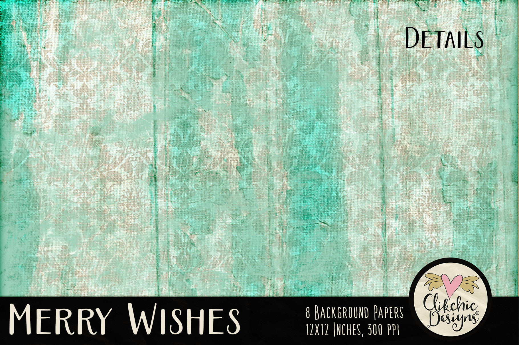 Christmas Backgrounds - Merry Wishes Digital Papers Textures example image 3