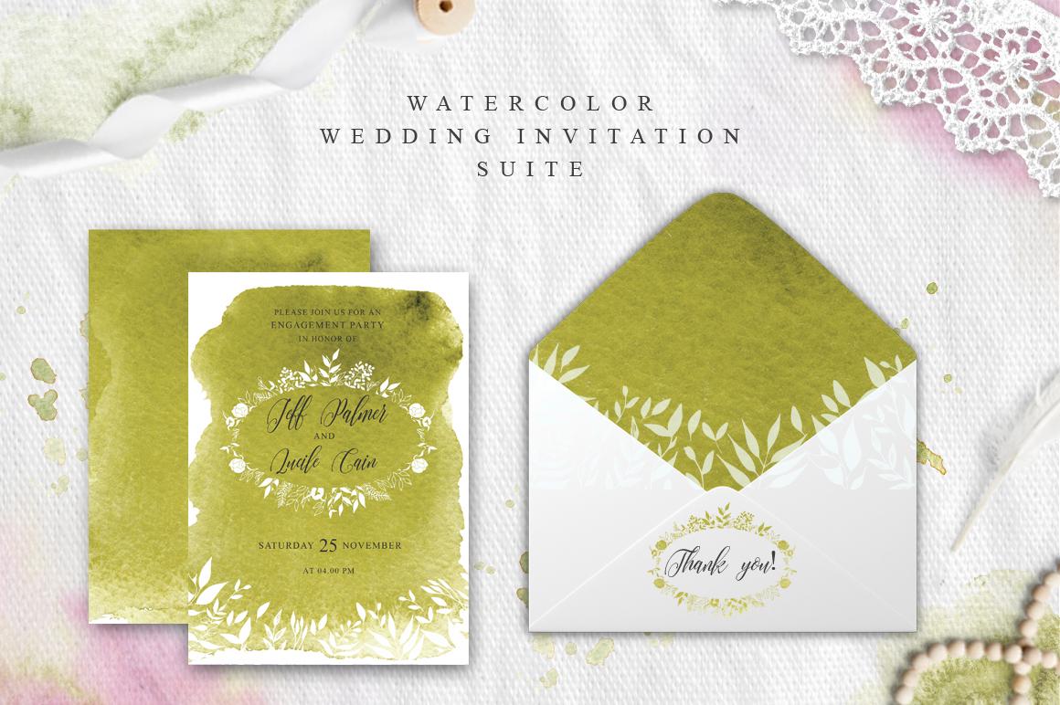 Greenery Watercolor Spring Wedding Invitation suite example image 2