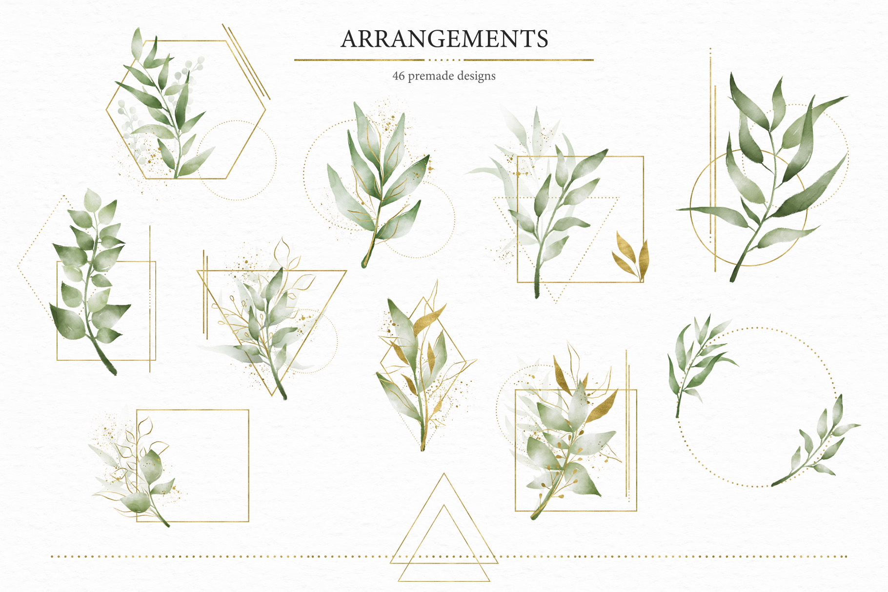 Geometrical. Gold & Watercolor Kit example image 8