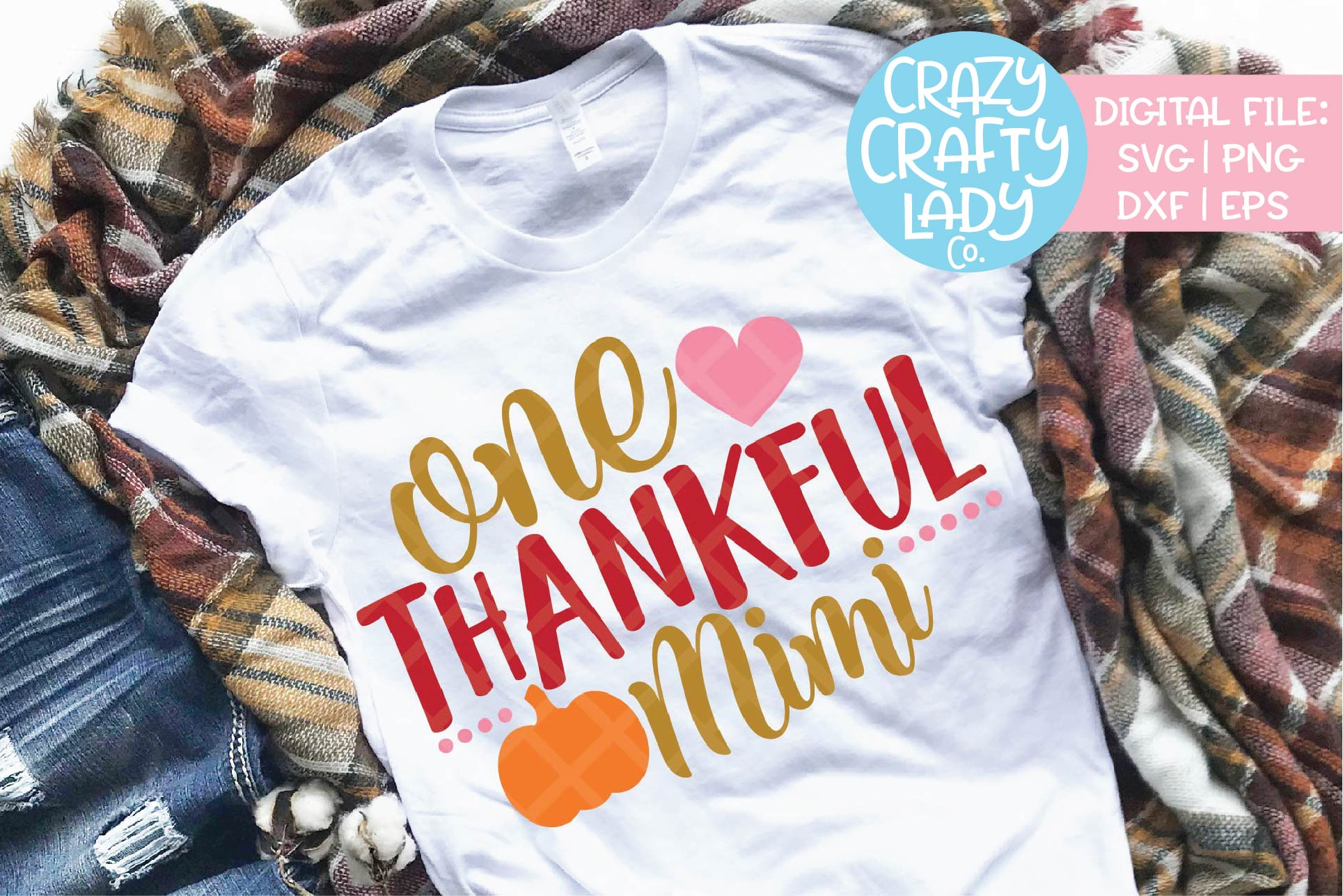 One Thankful Mimi SVG DXF EPS PNG Cut File example image 1