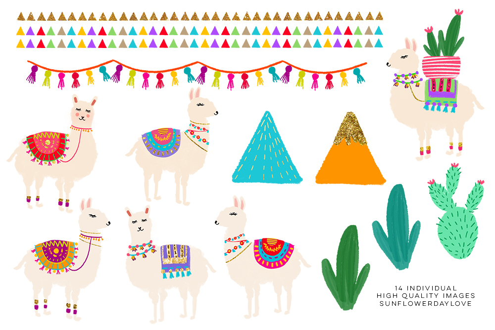 Cactus and Llama Watercolor Clipart set, Cute Llama Clipart example image 3