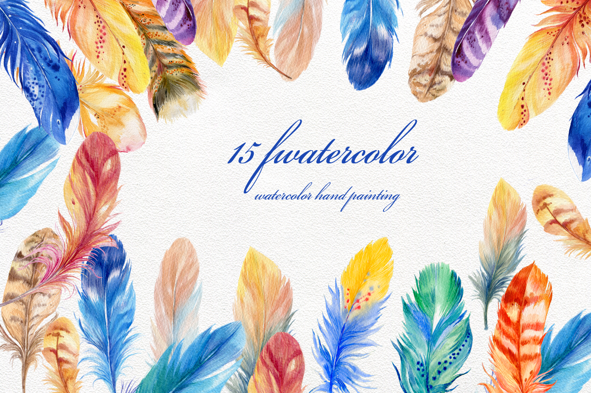 15 bird's feathers ,watercolor example image 1
