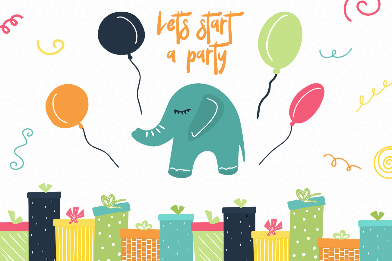 Elephant's party vector clipaty Birthday clipart example image 6