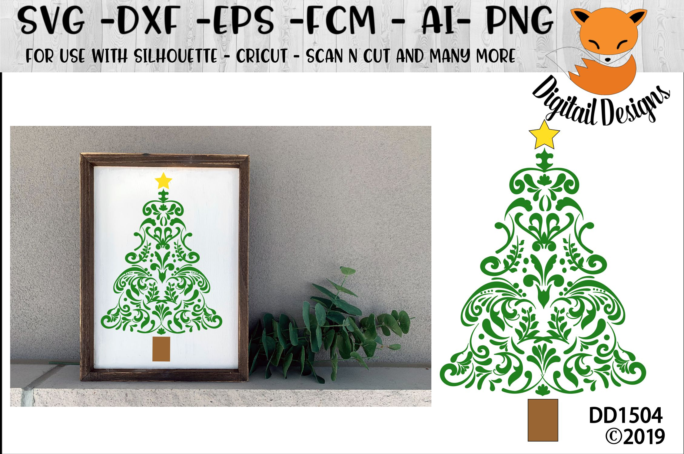 Swirly Intricate Christmas Tree SVG for
