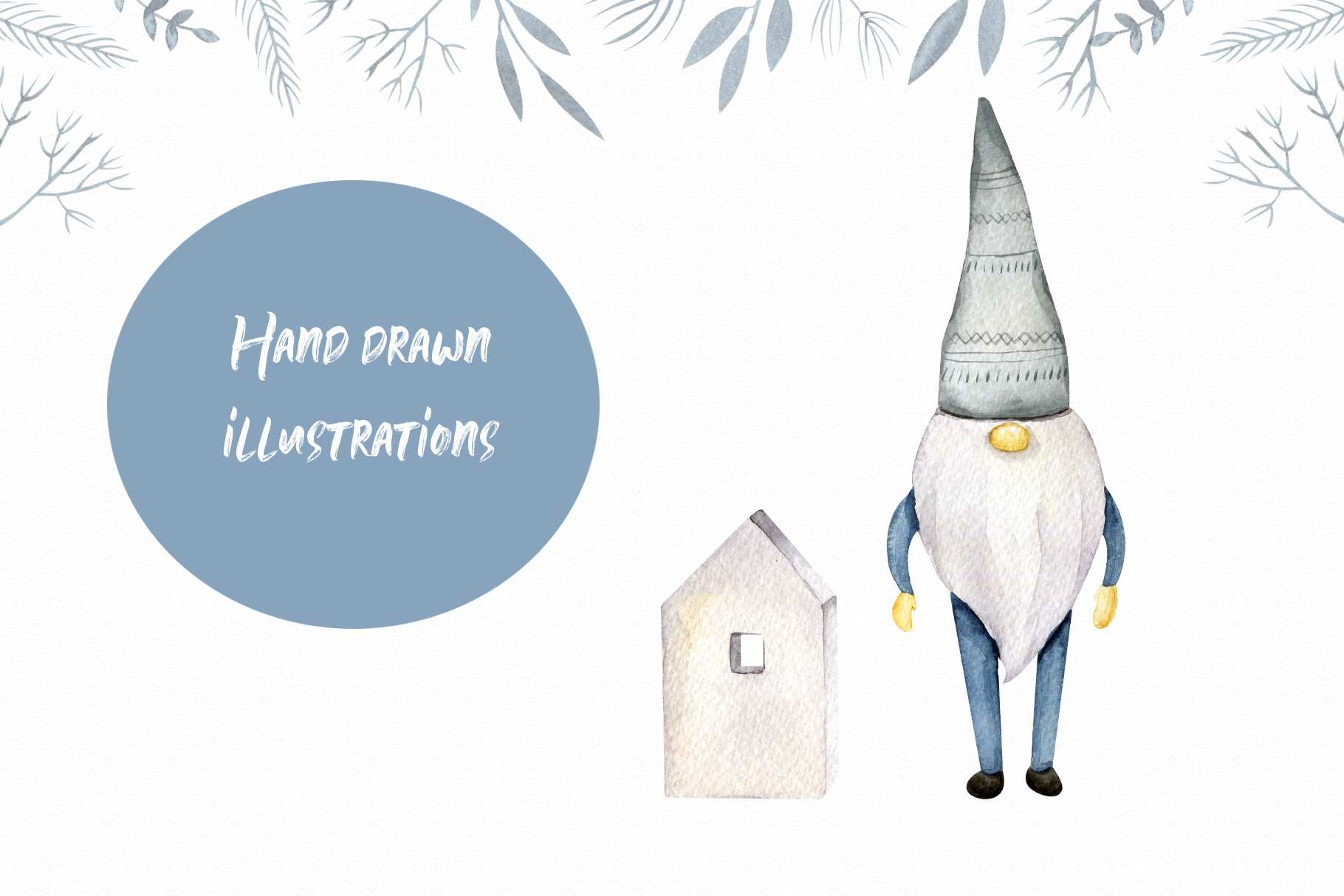 Winter Scandinavian Elfs, Nordic decor clipart watercolor example image 8