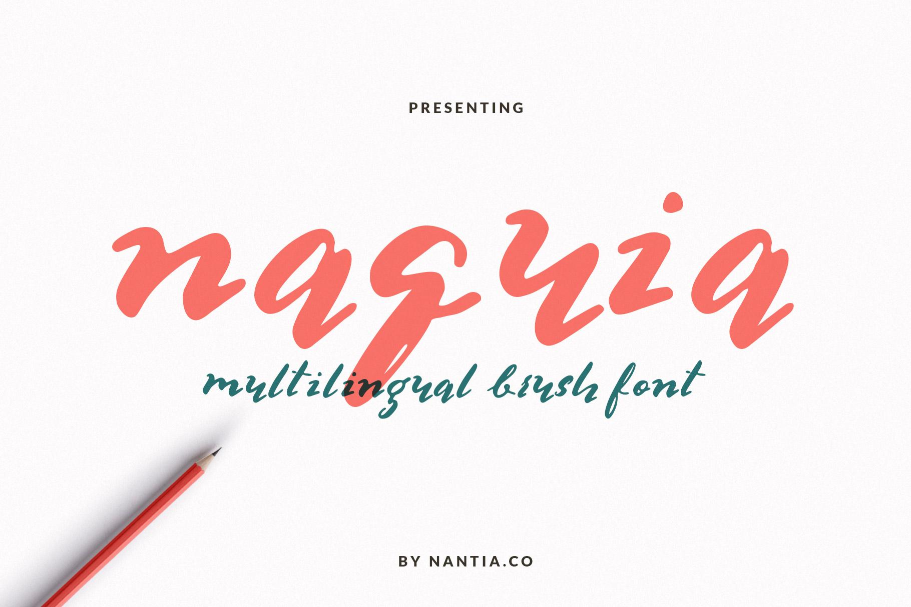 Multilingual Brush Font- Naquia Font example image 1