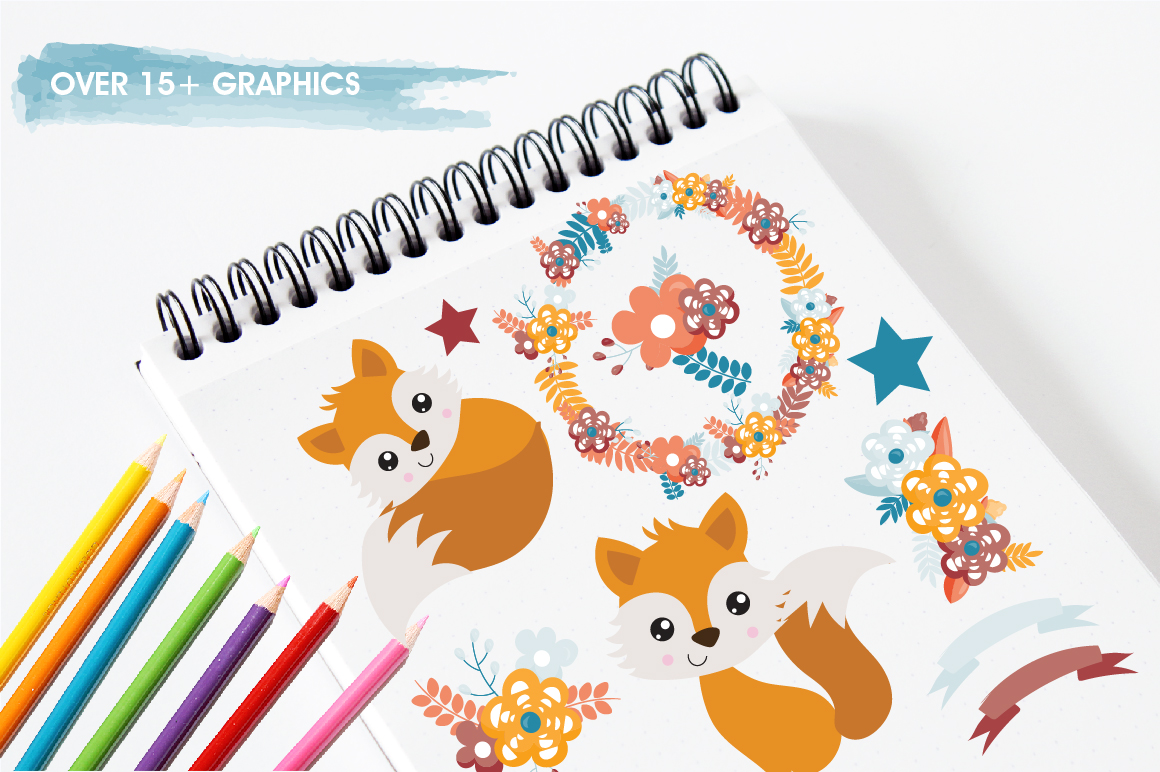 Spring Foxes graphics and illustrations example image 3