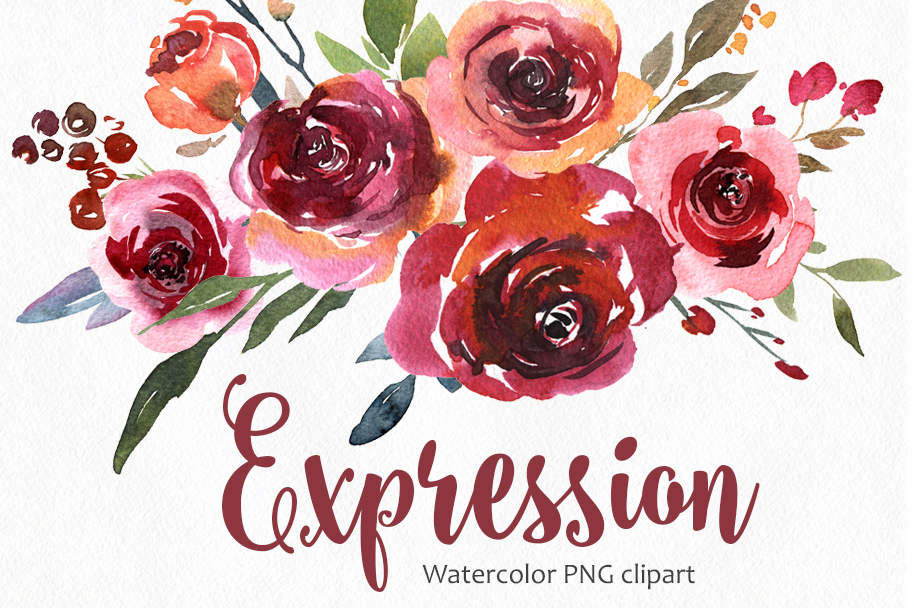 Vintage Watercolor Red Vinous Roses Collection example image 1