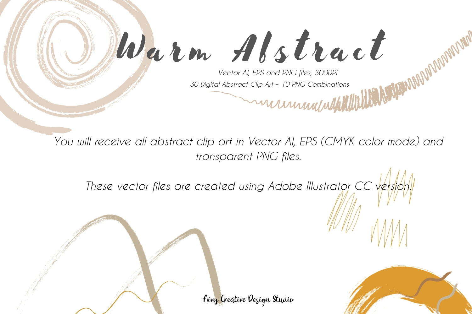 Vector Warm Abstract Colors Abstract Clip Illustration Set example image 2