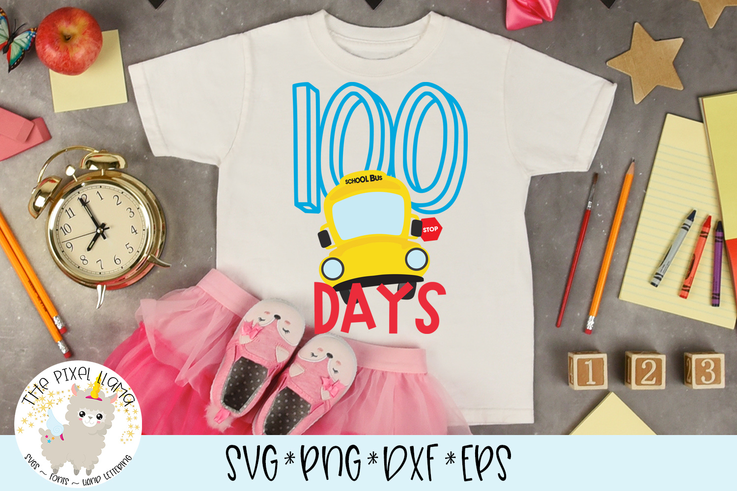 100 Days Of School Bus Svg Cut File