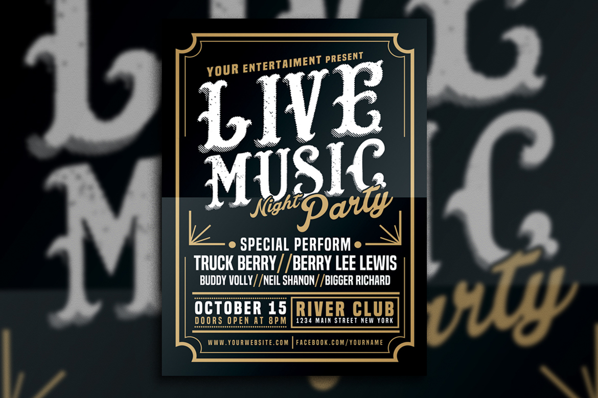 Live Music Typography Poster Flyer example image 3