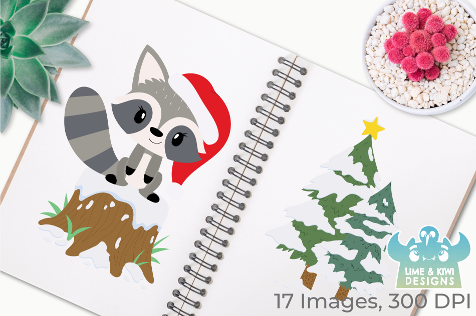 Christmas Raccoons Clipart, Instant Download Vector Art example image 3