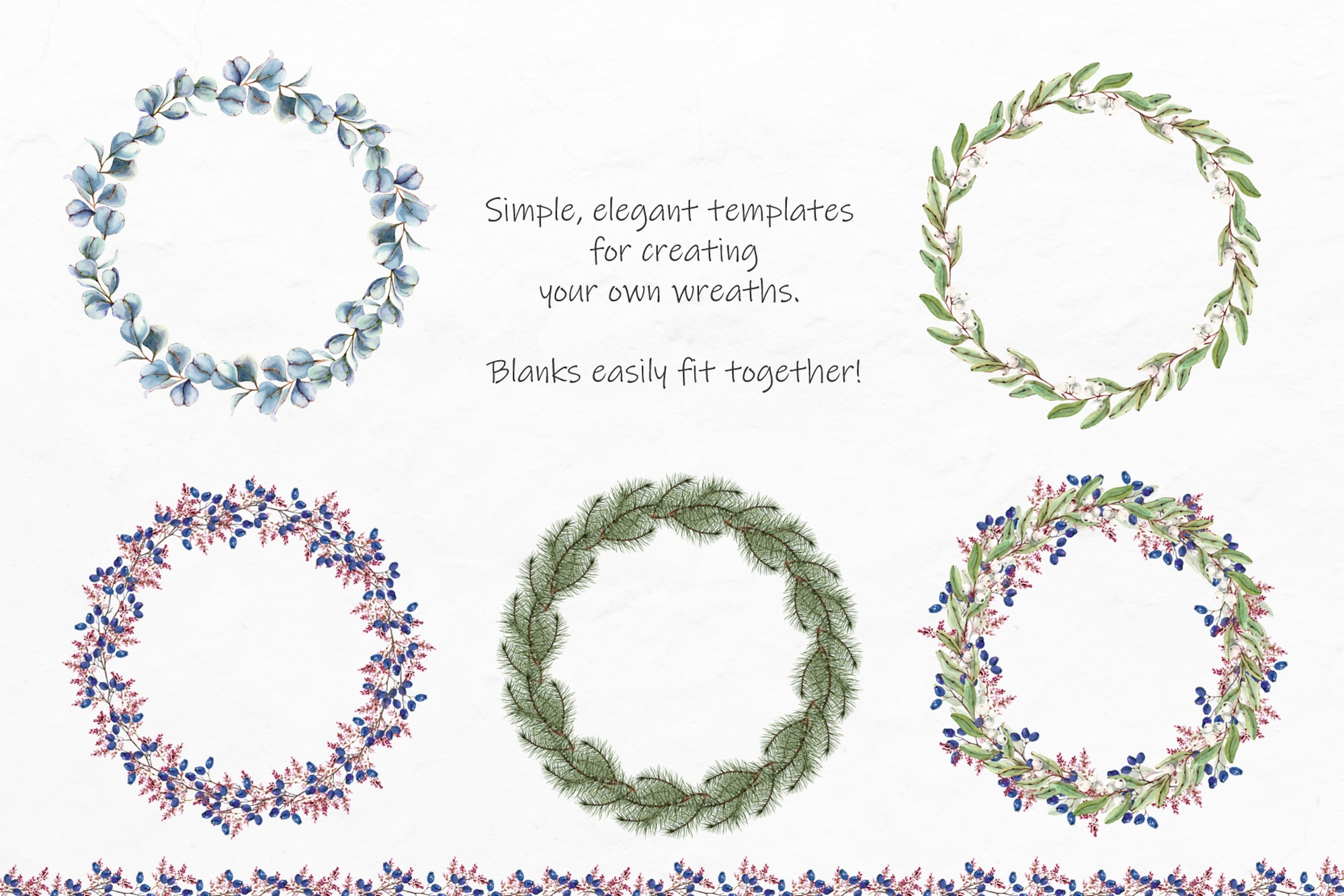 Watercolor Winter Wreaths | Clipart example image 4