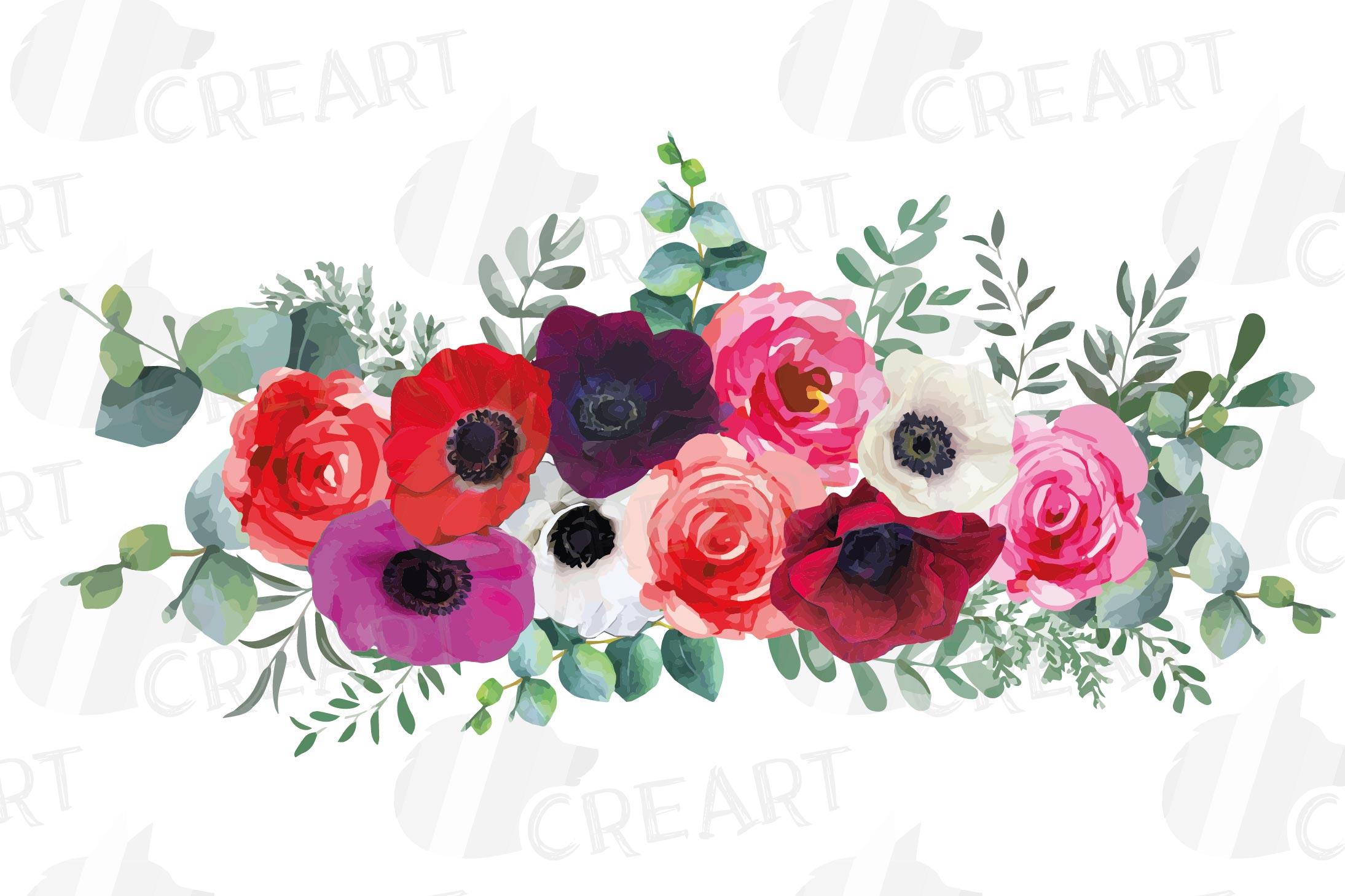 Watercolor elegant floral bouquets, rose, anemone decoration example image 8