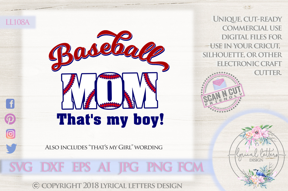 Baseball Mom That's My Boy SVG DXF Cut File LL108A example image 1
