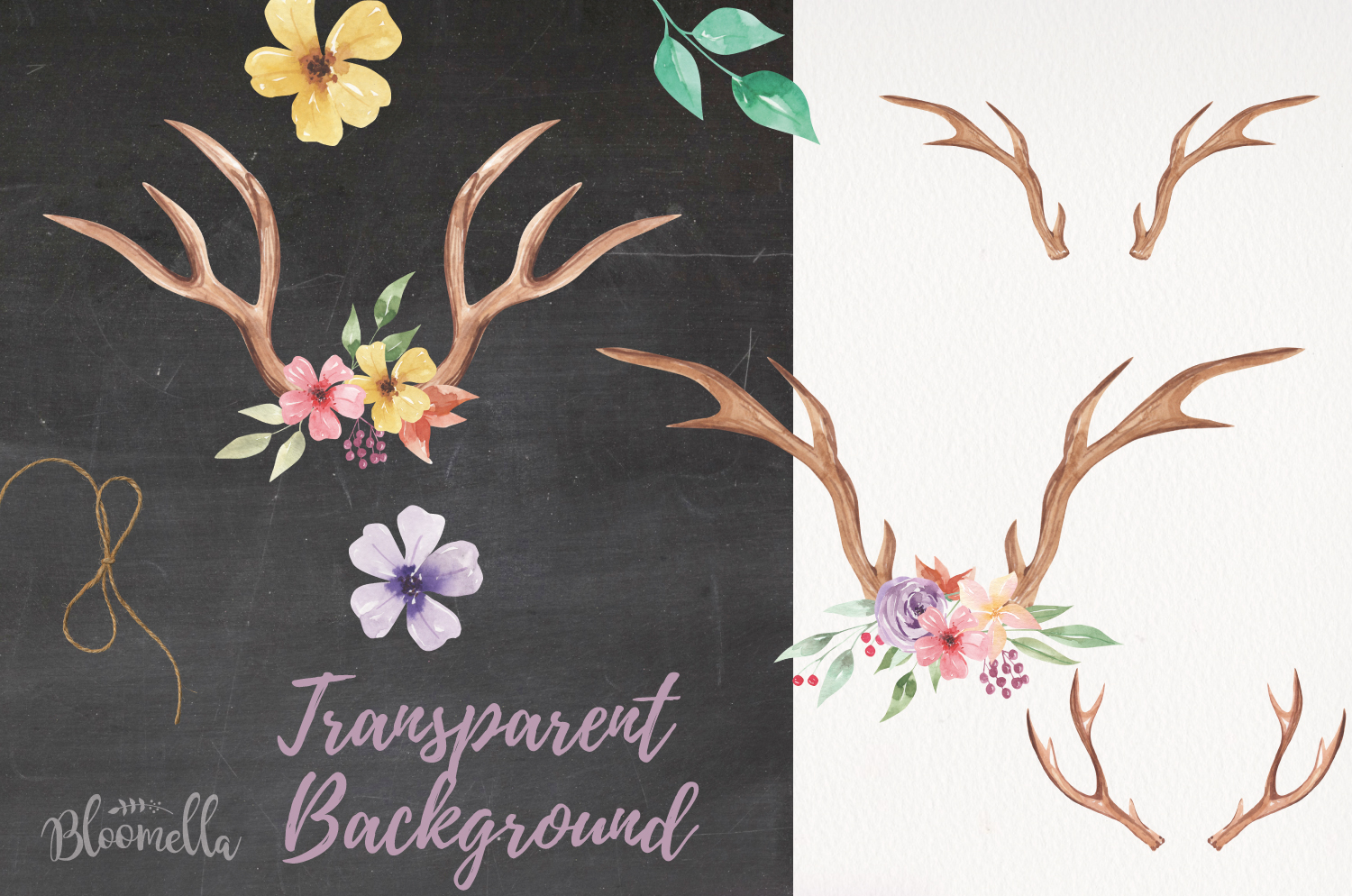 Create Your Own Watercolor Elements Flowers Antlers Florals example image 2