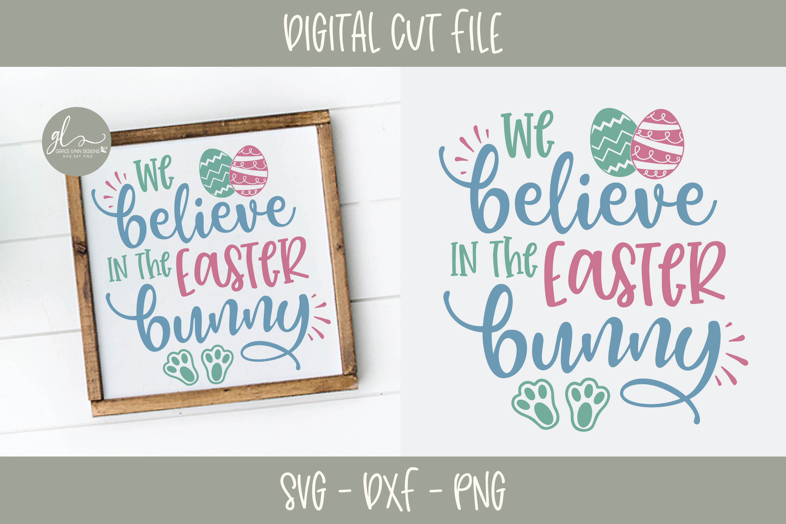 We Believe In The Easter Bunny - Easter SVG Cut File example image 1