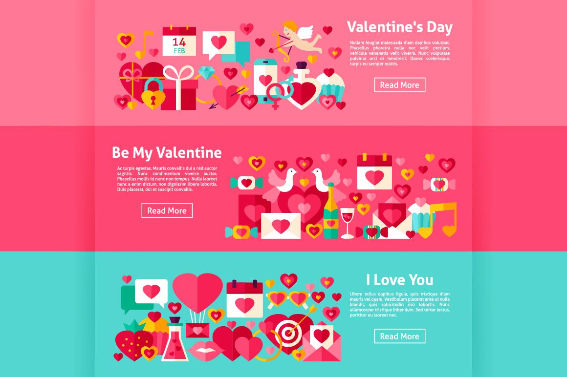 Valentine's Day Flat Banners example image 2