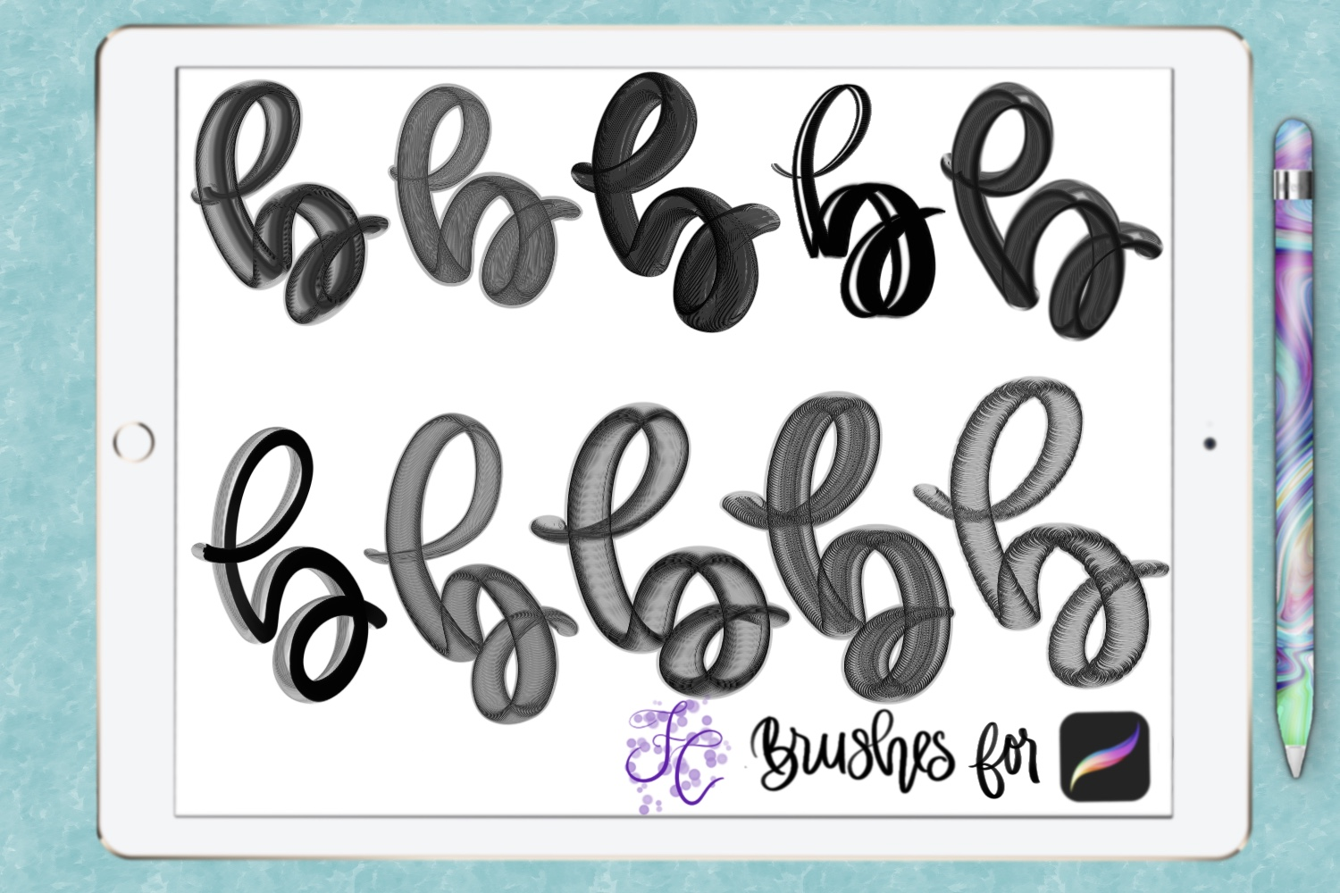FC-funky lettering set 1 for PROCREATE example image 3