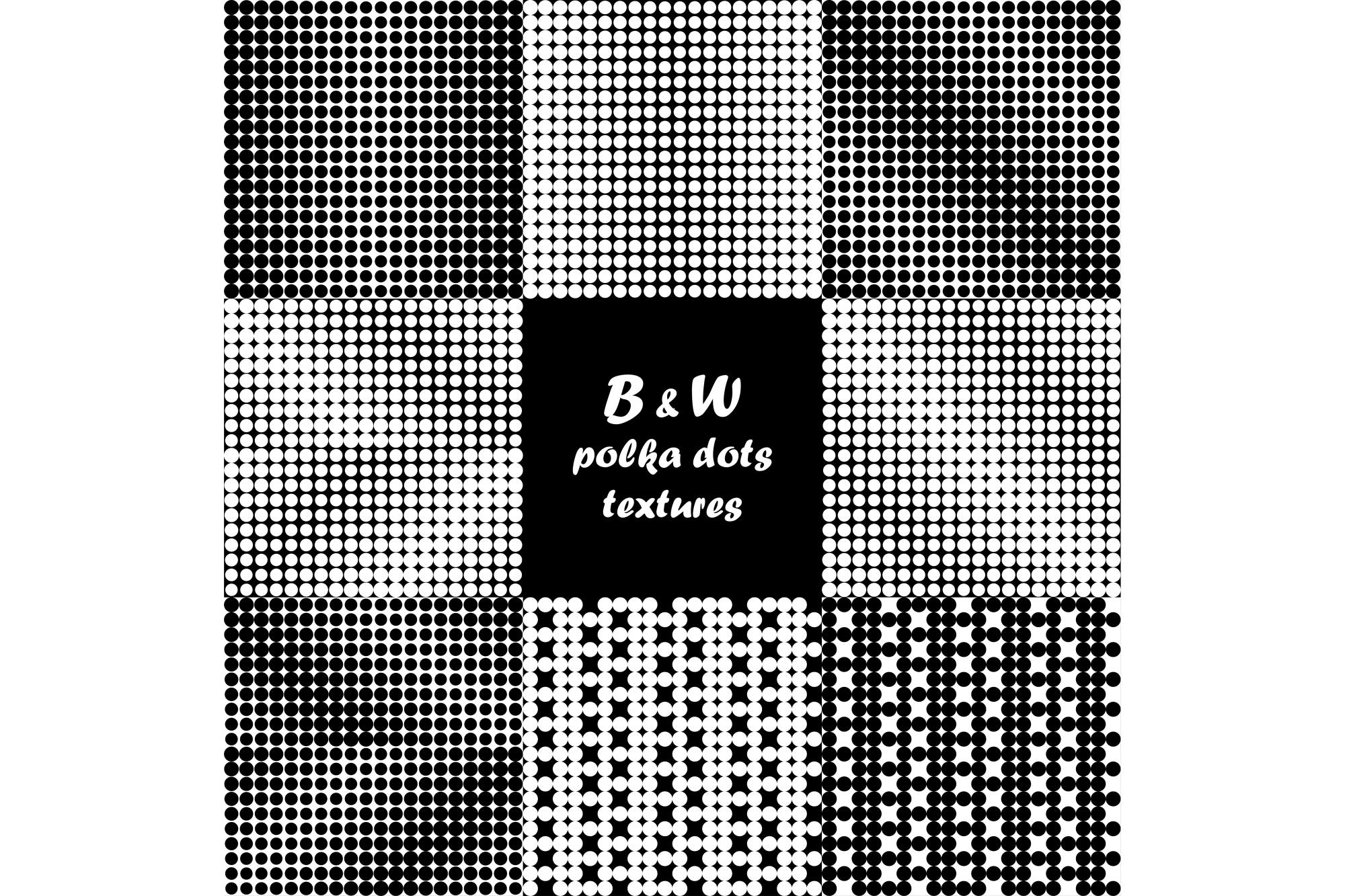 Set of 9 seamless black and white polka dot pattern.  example image 1