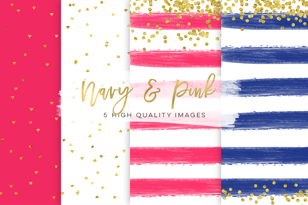 Pink and Navy blue, Business Blog paper, Neon Pink & Navy blue Chic paper, gold navy blue paper, gold pink paper Gold Foil Glitter texture example image 1