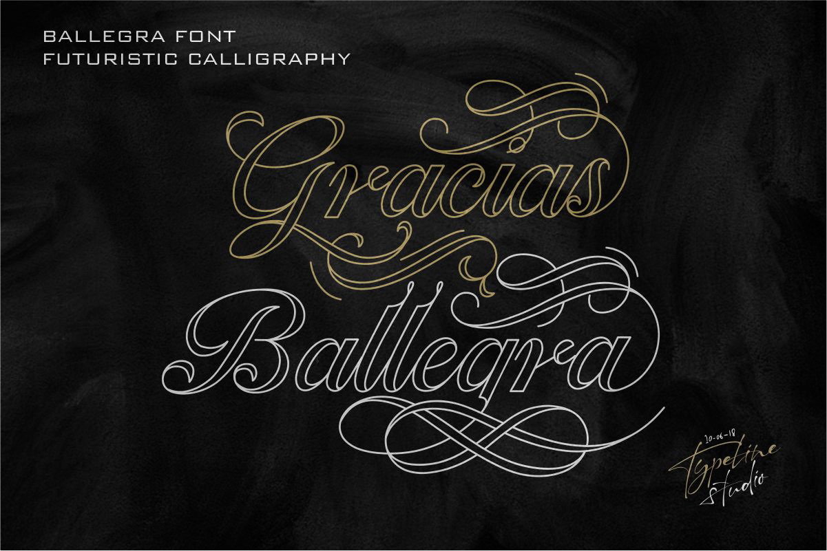 Ballegra Solid & Outline Script example image 10