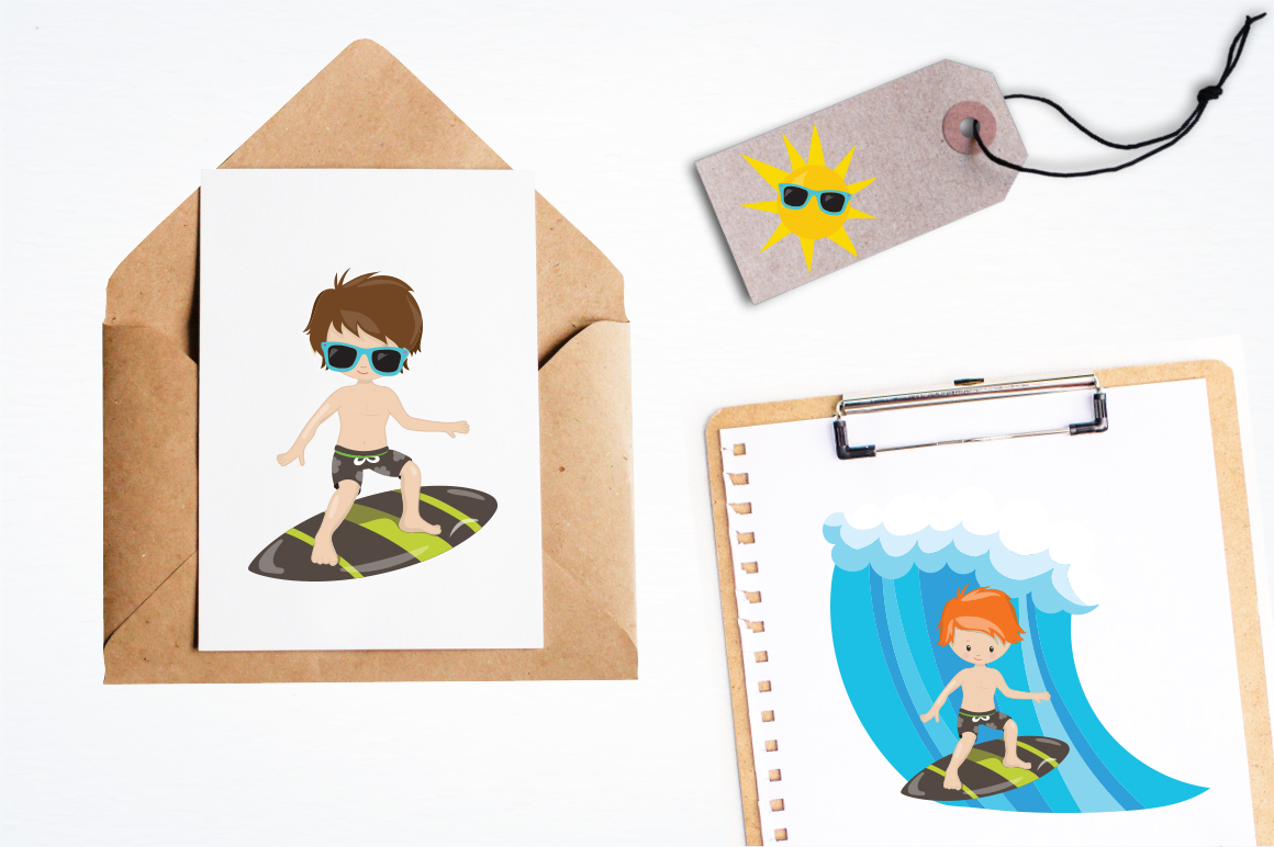 Surfing Boys graphic and illustrations example image 3