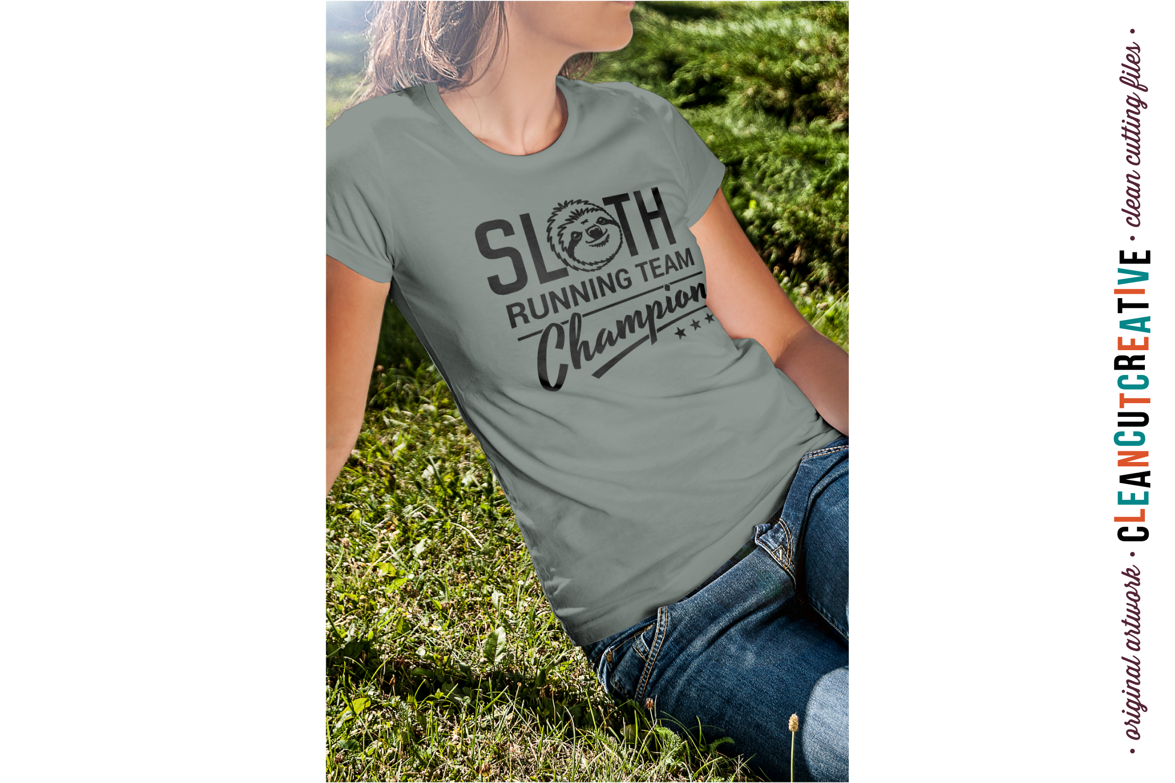 SLOTH RUNNING TEAM CHAMPION! - funny t-shirt design - SVG DXF EPS PNG - Cricut & Silhouette - clean cutting files example image 2