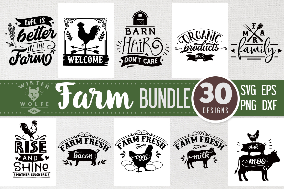 Farm Bundle 30 designs SVG EPS DXF PNG example image 1