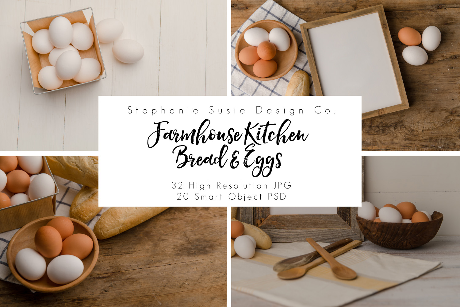 Farmhouse Kitchen Bread & Eggs Mock Up Bundle example image 1