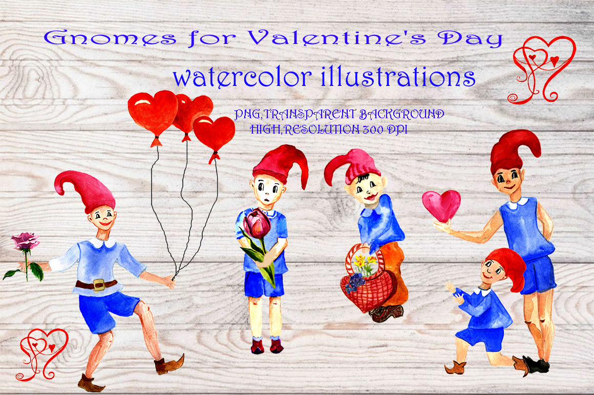 Clipart gnomes for Valentine's Day example image 1