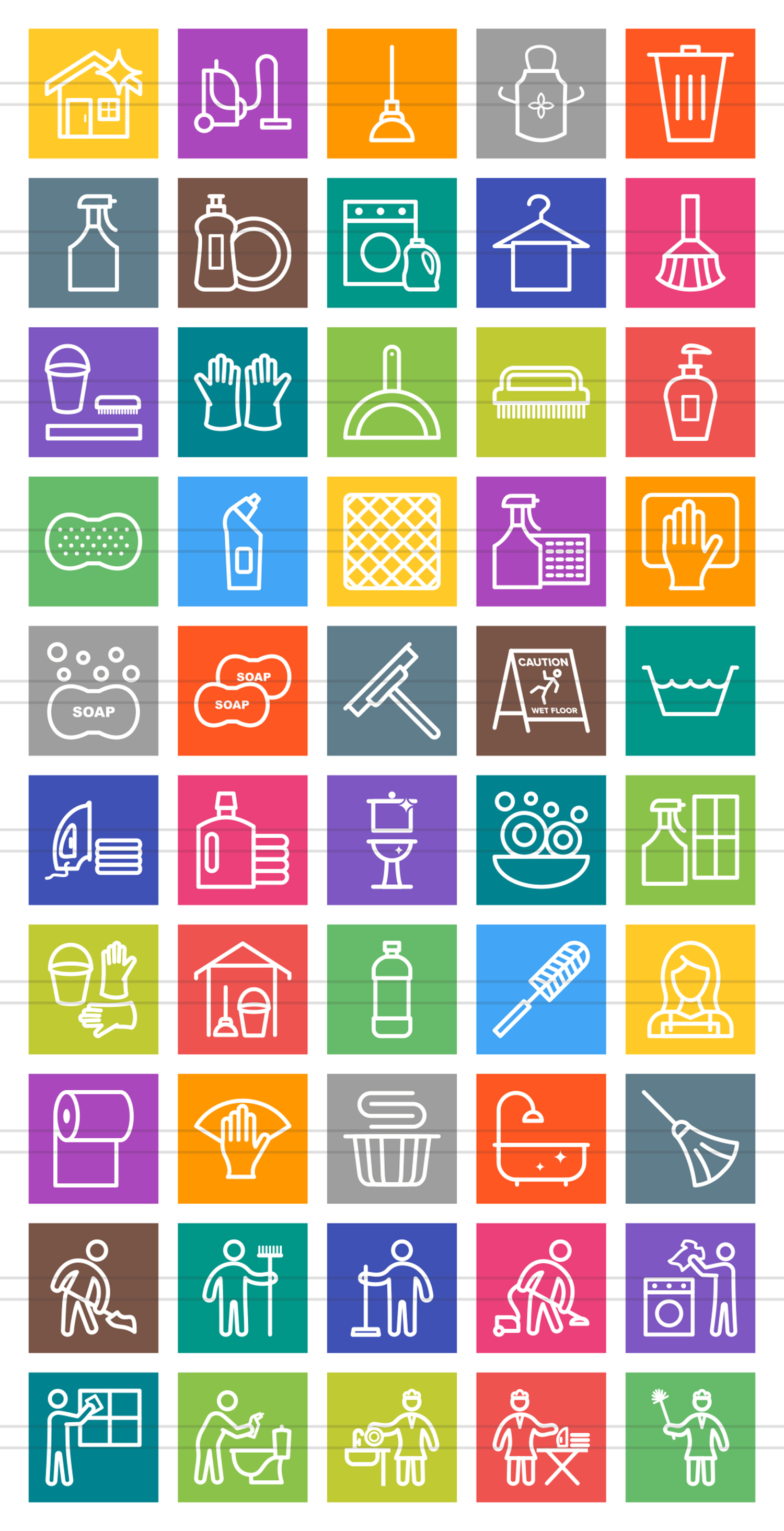 50 Cleaning Services Line Multicolor B/G Icons example image 2