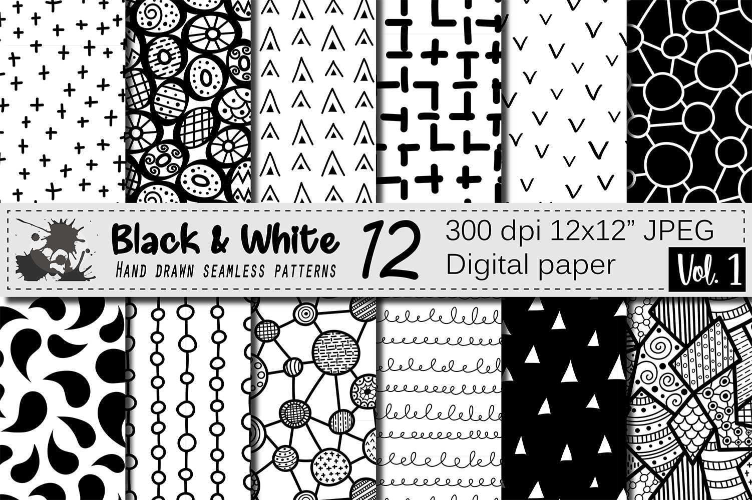 Black and White hand drawn seamless doodle patterns ...