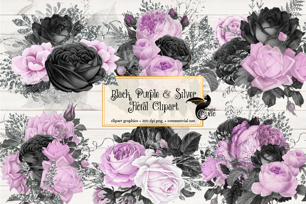 Black Purple and Silver Floral Clipart example image 2