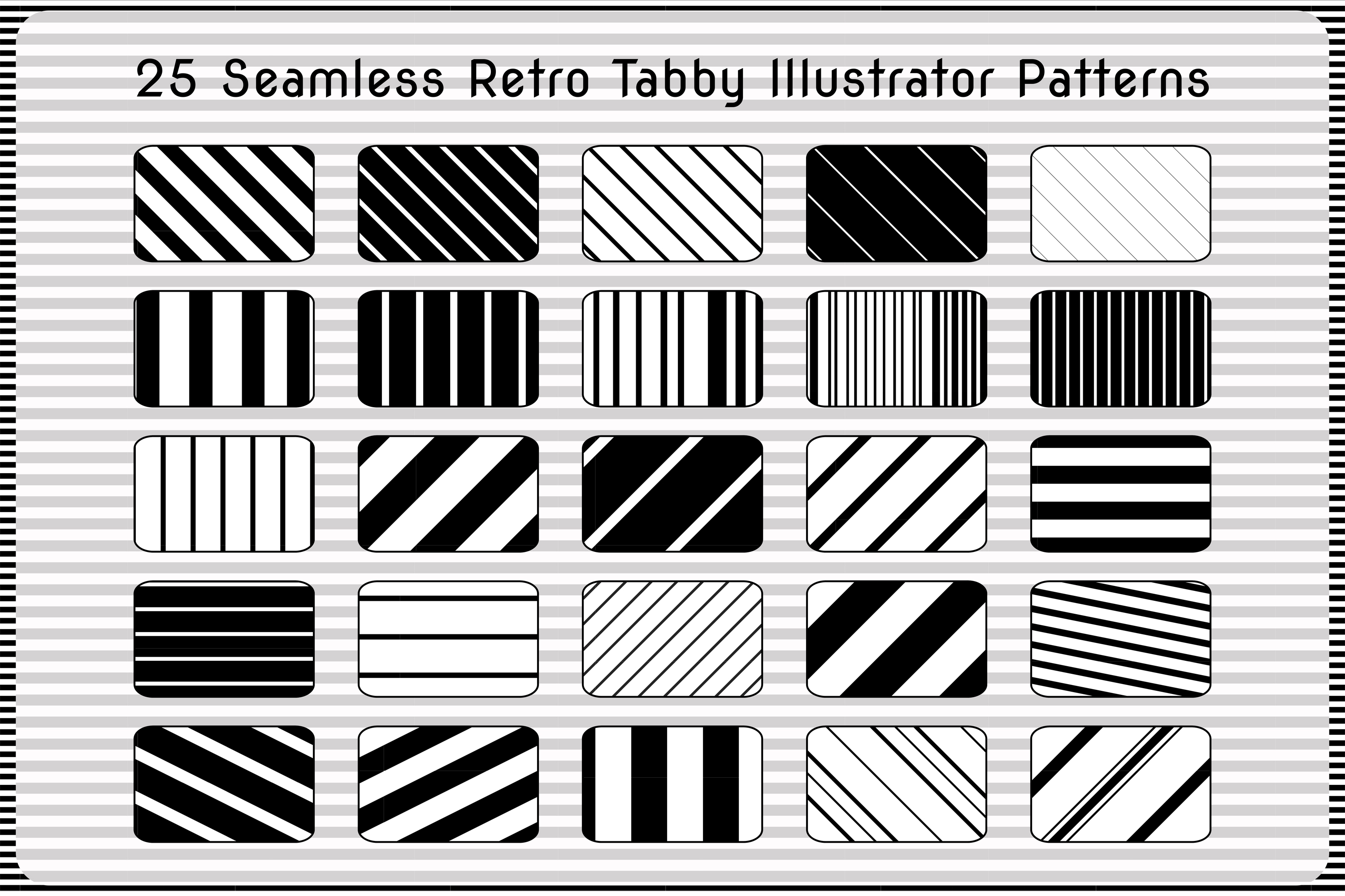 25 Tabby Black Repeating Adobe Illustrator Stripes Patterns example image 1