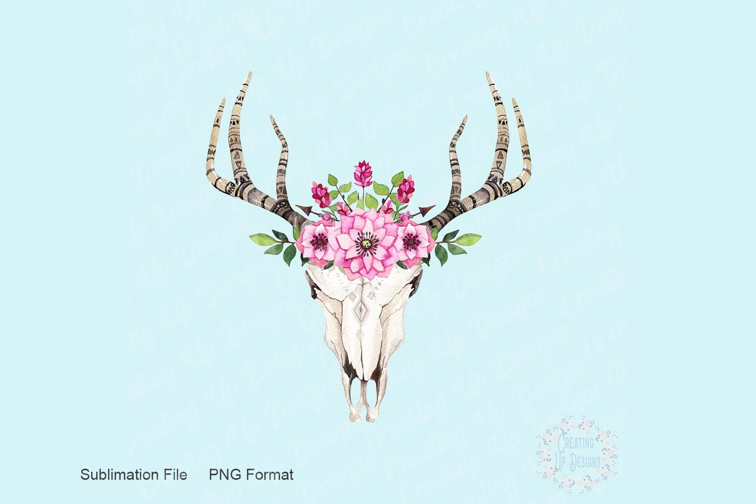 Boho Cow Skull With Pink Flowers PNG example image 1