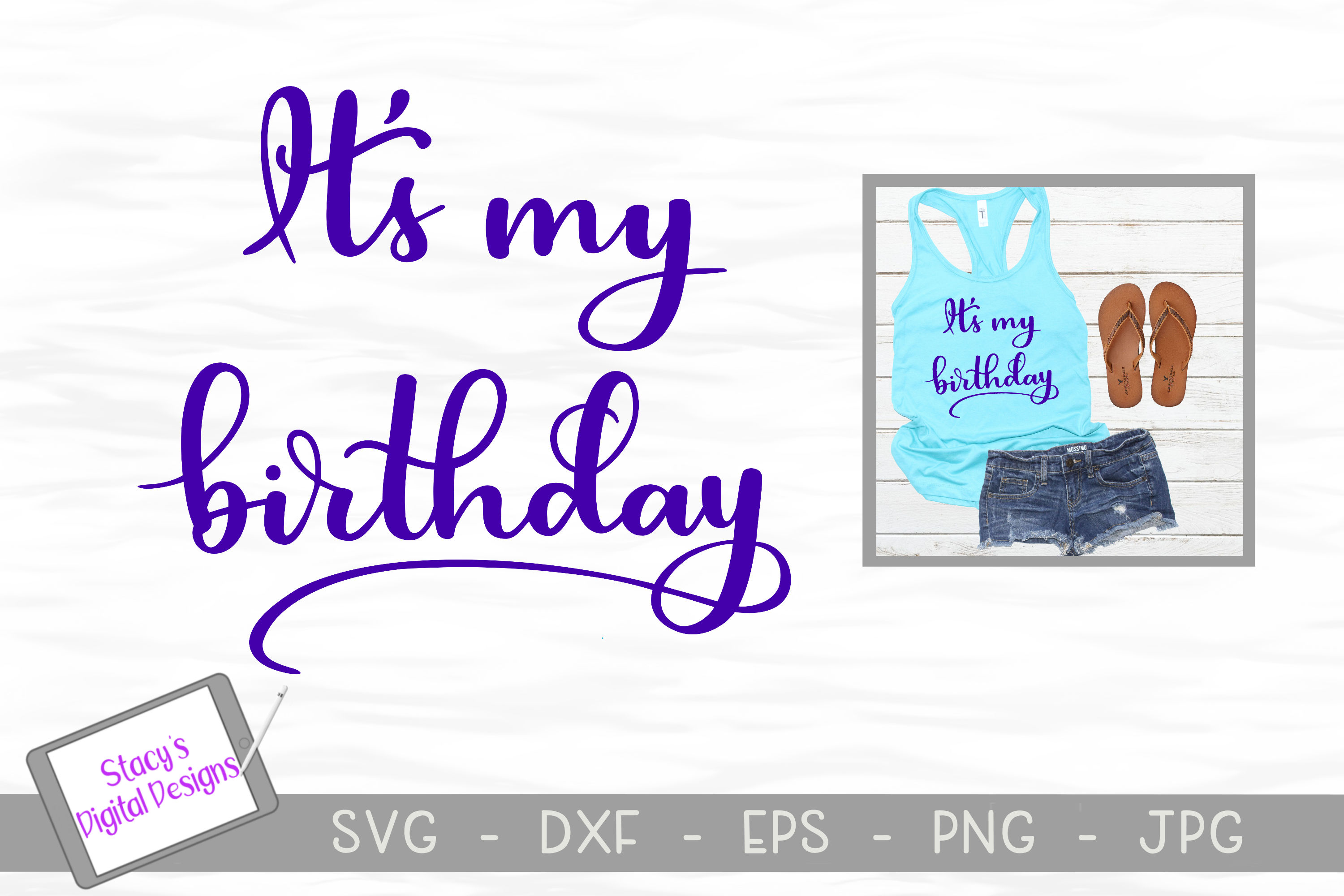 Birthday SVG - It's my birthday cut file, Handlettered example image 1