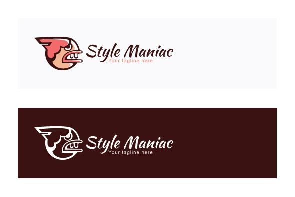 Style Maniac - Illustrative Comic Aggressive Face Stock Logo example image 2